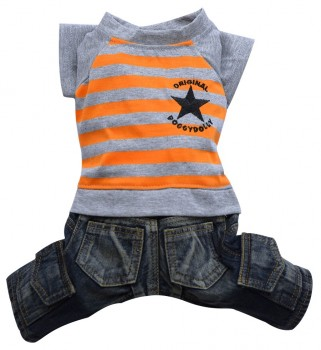 DoggyDolly C129 Hundekombi Jeans & T-Shirt orange gestreift - L