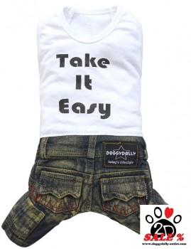 "Vorführmodell - DoggyDolly Hundekombi Jeans ""Take it easy"" C225 - XL"