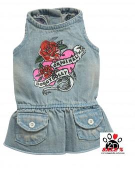 Vorführmodell - DoggyDolly Hundekleid Jeans D213 - S