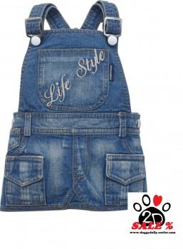 Vorführmodell - DoggyDolly Latzkleid jeans DC043 - XXS