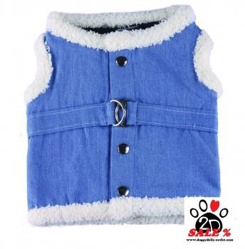 Vorführmodell - DoggyDolly Hundestoffgeschirr jeansblau DCL048 - S