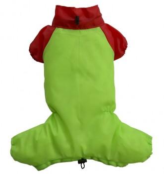 DoggyDolly DR044 Regenanzug für Hunde grün-rot - L
