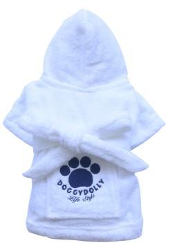 DoggyDolly DRF001 Bademantel für Hunde weiß