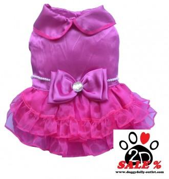 Vorführmodell - DoggyDolly MOPS&CO Hundesfesttagskleid pink FP-F024 - S