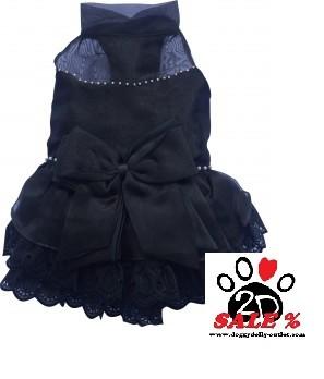 Vorführmodell - DoggyDolly MOPS&CO Hunde Abendkleid schwarz FP-F027 - M