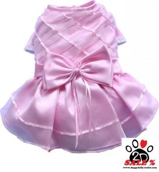 Vorführmodell - DoggyDolly Hundesfesttagskleid rosa F029 - L