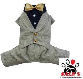 Vorführmodell - DoggyDolly MOPS&CO Hundesmoking Anzug beige-schwarz FP-F045-L