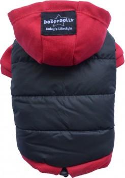 DoggyDolly MOPS&CO FP-W110 Parkapullover für kräftige Hunderassen schwarz-rot FP-XL