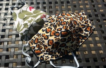 DoggyDolly Mundbedeckung aus Baumwolle - Stoffmaske / Gesichtsmaske Leo 2er Set