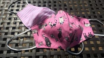 DoggyDolly Mundbedeckung aus Baumwolle - Stoffmaske / Gesichtsmaske Katzen rosa 2er Set