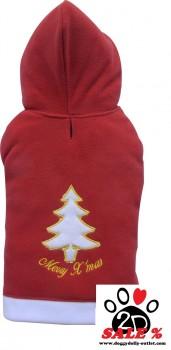 Vorführmodell - DoggyDolly Hundepullover Weihnachten Fleece rot-weiß ST003 - M