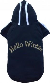 DoggyDolly T231 Kapuzen Pullover für Hunde HELLO WINTER schwarz