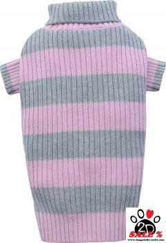 Vorführmodell - DoggyDolly Hundepullover rosa-grau gestreift W051 - L