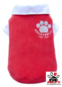 Vorführmodell - DoggyDolly Hundepullover Fleece rot W086 - M