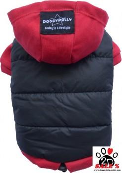 Vorführmodell - DoggyDolly Hundeparka schwarz-rot W110