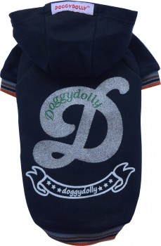 DoggyDolly W112 Kapuzen Pullover für Hunde schwarz-silber