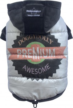 DoggyDolly W269 Parkapullover für Hunde silber-schwarz - M
