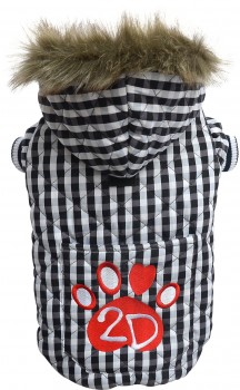 Doggydolly W344 Hundemantel kariert schwarz-weiß