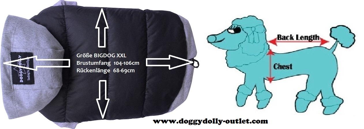 doggydolly big dog bd484 parkapullover f r gro e hunde schwarz grau xxl bd484 xxl. Black Bedroom Furniture Sets. Home Design Ideas