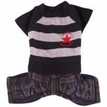 DoggyDolly C068 Hundekombi Jeans & T-Shirt schwarz-grau gestreift
