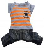 DoggyDolly C129 Hundekombi Jeans & T-Shirt orange gestreift