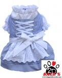 Vorführmodell - DoggyDolly Hunde-Dirndl blau-weiß DL004