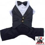 Vorführmodell - DoggyDolly Hundesmoking Anzug schwarz-weiß DST002