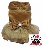Vorführmodell - DoggyDolly MOPS&CO Hundesfesttagskleid gold FP-F023