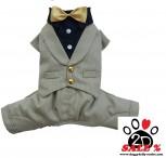 Vorführmodell - DoggyDolly MOPS&CO Hundesmoking Anzug beige-schwarz FP-F045