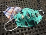 DoggyDolly Mundbedeckung aus Baumwolle - Stoffmaske / Gesichtsmaske Katzen mint 2er Set