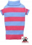 Vorführmodell - DoggyDolly Hundepullover pink-blau gestreift W314